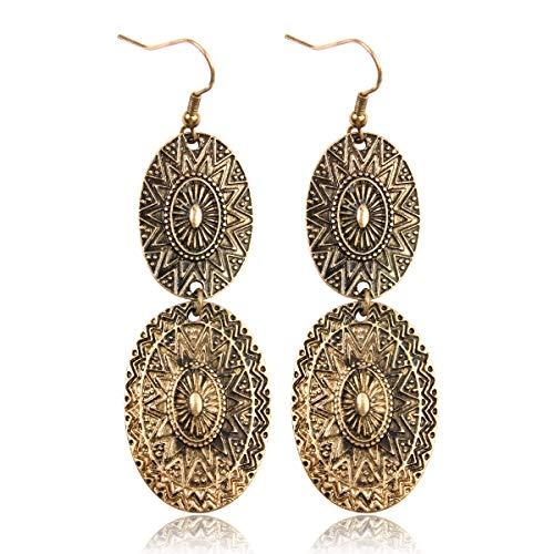 RIAH FASHION Bohemian Vintage Coin Mandala Circle Drop Earrings - Moroccan Ethnic Hook Dangles Round Metallic Disc/Aztec Shield Chandelier Tassel (Oval - Gold)