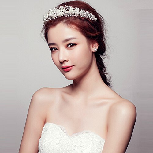 Tiaras Bridal Rhinestone Fantastic Headdress Jewelry Hair Princess Headpiece White Casualfashion Wedding Bride Pearl Crown UqIYYxR0