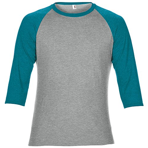 Anvil Unisex Two Tone Tri-Blend 3/4 Sleeve Raglan T-Shirt (2XL) (Heather Grey/Heather Galapagos Blue)