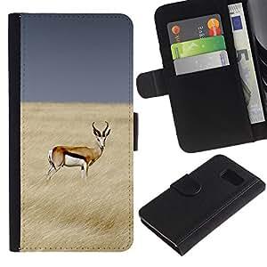 A-type (Antelope Field Africa Prey Sky Nature) Colorida Impresión Funda Cuero Monedero Caja Bolsa Cubierta Caja Piel Card Slots Para Samsung Galaxy S6