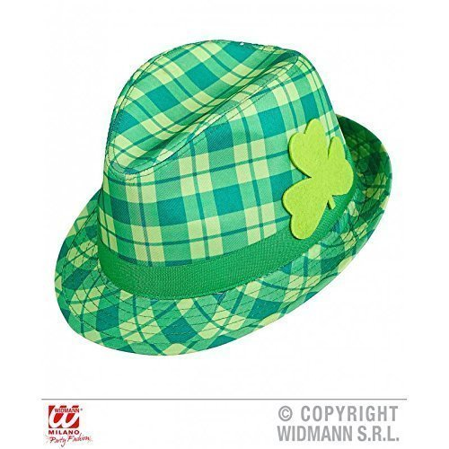 Ska / Trillby Chapeau / Fedora vert à carreaux avec Feuille de trèfle idéal pour Pcs De Patrick Journée que Accessoires du vêtement