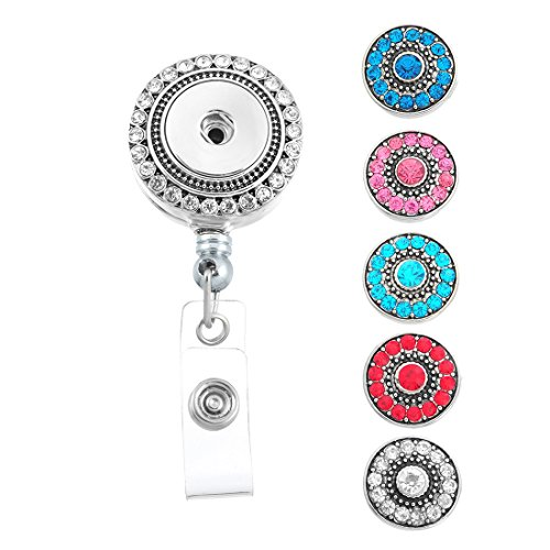 Souarts Retractable Badge Reel Clip On Card Holder with 5pcs Round Rhinestone DIY Snaps Buttons Charms Retractable Round Badge Reel