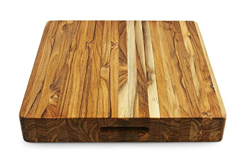 Terra Teak Extra Large Butcher Block - 18 x 18 x 3 Inch, Thick Square Cutting Board by Thirteen Chefs
