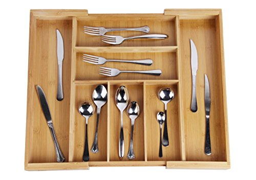 Drawer Dividers Expandable Utensil Cutlery Tray Bamboo Wooden Adjustable 7 Compartments Silverware Organizer Kitchen Storage Holder for Flatware Knives Forks Spoons Accessories or Gadgets by (Wooden Cutlery Tray)