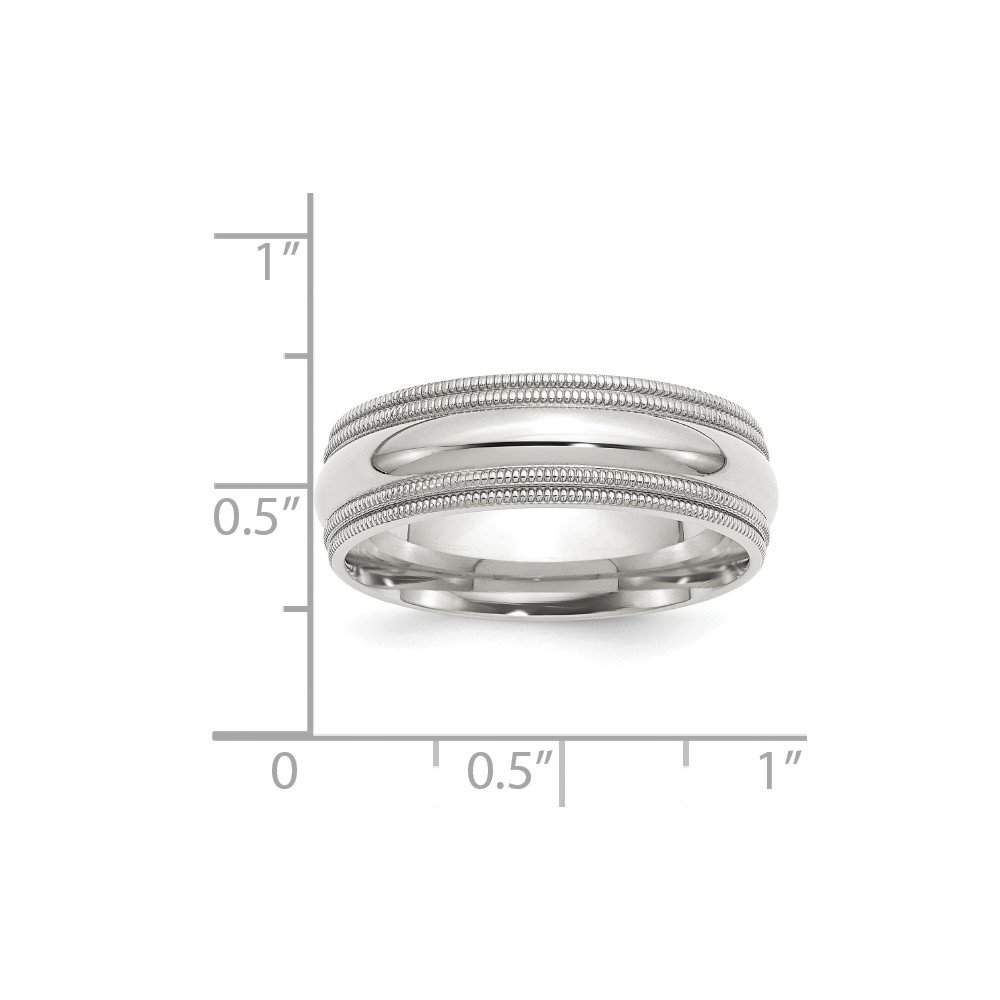 Sterling Silver Wedding Band Ring Milgrain Comfort Polished 7 mm 7mm Comfort Fit Double Milgrain Band