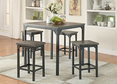 1PerfectChoice Percie Dark Antique Black 5pcs Counter Height Set