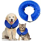 "Protective Inflatable Recovery Collar for Dogs/Cats, Aolvo Soft Dog Cone Collar, Adjustable Pet E-Collar Alternative for Anti-Bite Lick, Surgery or Wound Healing, 7.08""-11.81"" Neck Circumference - S"