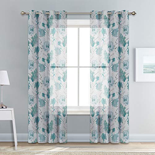 KGORGE Window Sheer Voile Curtains with Natural Flower Leaves Pattern, Subtle Linen Textured Winkle Free Semi-Sheer for Patio Sliding Glass Door/Nursery, W 52 x L 95, Grayish Green, 1 Pair