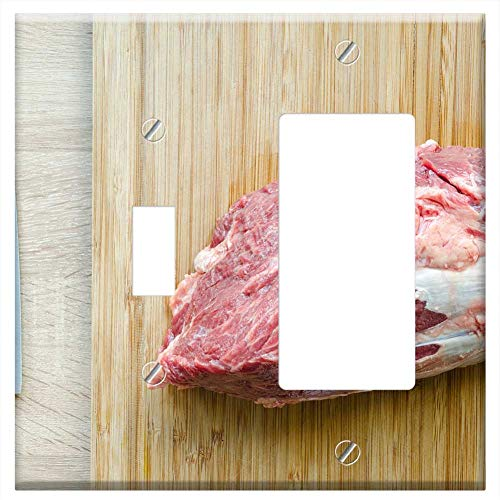 (1-Toggle 1-Rocker/GFCI Combination Wall Plate Cover - Meat Wood Beef Steak Food Barbecue Pepper Fil )