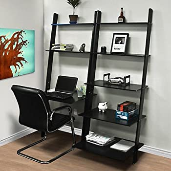 Amazoncom Leaning Shelf Bookcase With Computer Desk Office