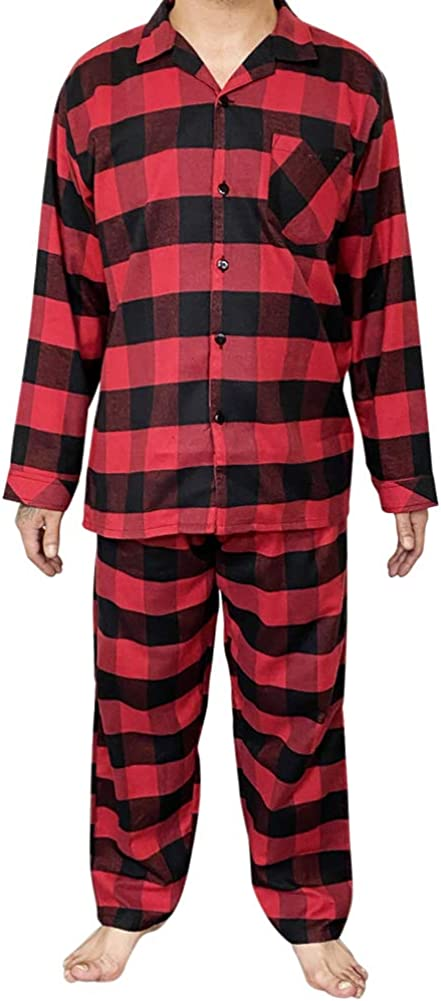 NORTY Flannel Pajamas for Men - Set of Top and Pants/Bottoms Soft Durable Cotton