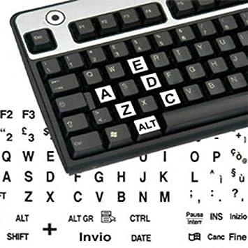 adesivitastiera. it - Pegatinas teclado etiquetas grandes ITA fondo blanco letras negras: Amazon.es: Electrónica