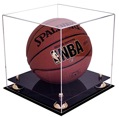 Deluxe Clear Acrylic Full Size Basketball Display Case with Gold Risers (A001-GR) ()