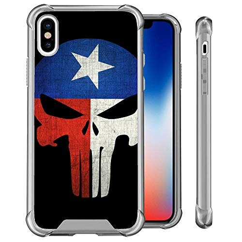 (UNTOUCHBLE Case Compatible with [ Apple iPhone Xs Max (2018) ][Smoke Crystal Flex] Slim Shockproof Hard PC+TPU Bumper Case Scratch-Resistant Cover for iPhone Xs Max - Texas Flag Skull)
