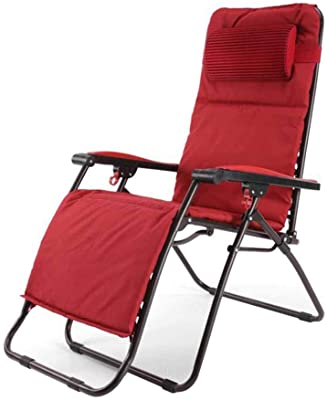 Reclining Chairs Folding Chair Deck Chairs Sun Lounger Zero Gravity Garden Beach Red Textilene with Headrest with Cup Holder (Color : #2)