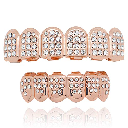 LuReen 14k Gold Plated Iced Out Grills with Diamond Hip Hop Teeth Top and Bottom Set (Rose ()