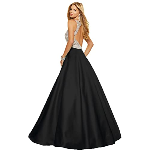 Women's Sparkly Crystal Beading Prom Dresses Long 2017 Sexy Open Back Party Ball Gown Scoop Bridesma...