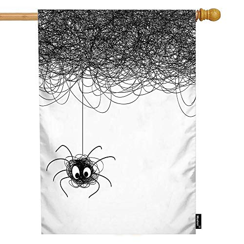 Moslion Spider House Flag Cute Funny Insect Spiders Web Doodle Lines for Halloween Garden Flags 28x40 Inch Double-Sided Banner Welcome Yard Flag Home Outdoor Decor. Lawn Villa]()