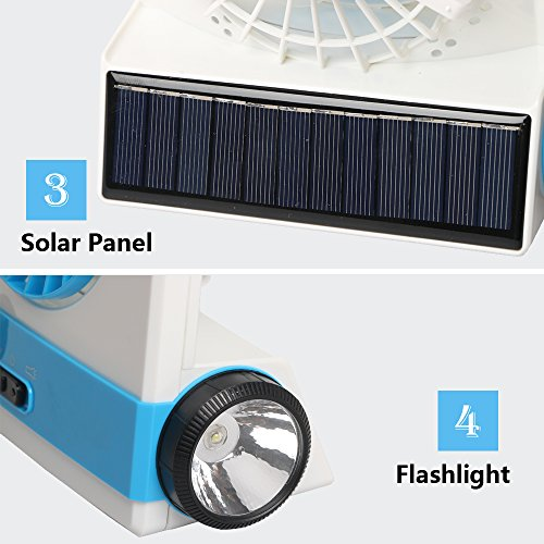 Ansee 3 in 1 Multi-functional Solar Cooling Table Fans with Eye-Care LED Table Lamp Flashlight Solar Panel Adaptor Plug for Home Use Camping (Blue) by Ansee (Image #6)