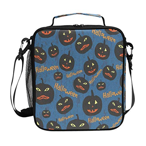 Durable Insulated Lunch Box,Halloween Pumpkin Tote Reusable Cooler Bag LARGER Greater Storage Waterproof Grocery Bag to School Office Work -