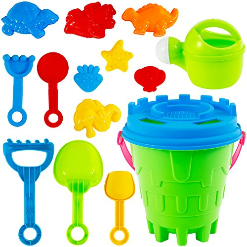 Acekid Mini Beach Toys Set, 15pcs Sand Toys Kit with Sand Castle Bucket, Spade, Rake and Molds, Summer Play Set for Toddler and Kids