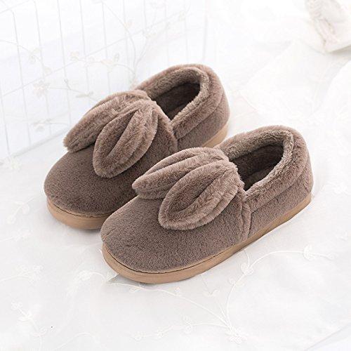 LaxBa L'hiver au chaud, l'hiver Chaussons Chaussons moelleux Accueil chaleureux en hiver, chaussures antiglisse Chambre Chaussons brown
