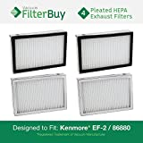 4 - Kenmore EF-2 86880 Exhaust Vacuum HEPA Filters. Designed by FilterBuy to Replace Sears Kenmore Part # 20-86880 (86880), 40320, EF2, 610445. Also Replaces Panasonic MC-V194H.