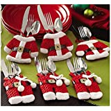 Santa Suit Christmas Silverware Holder Pockets Red 8Pcs Christmas Tableware Holders Set, White Snowman Knife and Fork Bags Covers for Xmas Party Dinner Table Decorations Ornaments