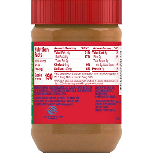 Jif Creamy Peanut Butter, 16 Ounces, 7g (7% DV) of Protein per Serving, Smooth, Creamy Texture, No Stir Peanut Butter 2