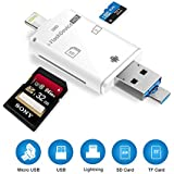 Card Reader Adapter, 3 in 1 Lightning/USB/ Micro USB to Micro SD TF Card Reader for iPhone 8/8 Plus/7/7 Plus /6/6 Plus/6s /6s Plus /5 /5s / ipad/MAC / PC/Android, Trail and Game Camera Viewer