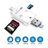 Card Reader, 3 in 1 SD Card Adapter, Trail and Game Camera Viewer Compatible iPhone Device, Android, Computer