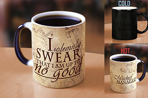 Morphing Mugs Harry Potter Hogwarts Magical Marauder's Map Heat Reveal Ceramic Coffee Mug - 11 Ounce (Parchment Paper - Harry Potter Glass