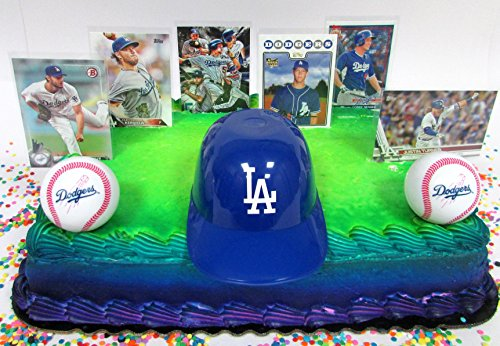Los Angeles DODGERS Baseball Team Themed Birthday Cake Topper Set Featuring Dodgers Player Baseball Cards and Themed (Dodgers Party Decorations)