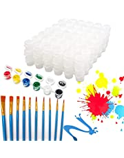 30 Strips Empty Paint Pots Strips, Mini Plastic Palette Cup Pot, Clear Storage Containers with 10 Pcs Paint Brushes, Painting Arts Crafts Supplies for Classrooms Schools Art Festivals
