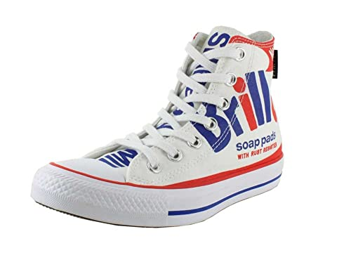 Converse Unisex Chuck Taylor All Star Andy Warhol Brillo High Top  White/Red/Blue Sneaker - 5 Men - 7 Women: Amazon.co.uk: Shoes & Bags