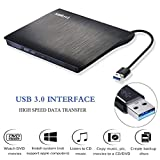 External CD Drive,Amicool USB 3.0 Portable CD/DVD +/-RW Drive Slim DVD/CD Rom Rewriter Burner Super High Speed Data Transfer for Laptop Desktop Linux OS Apple Mac Macbook Pro and PC Windows XP/Vista