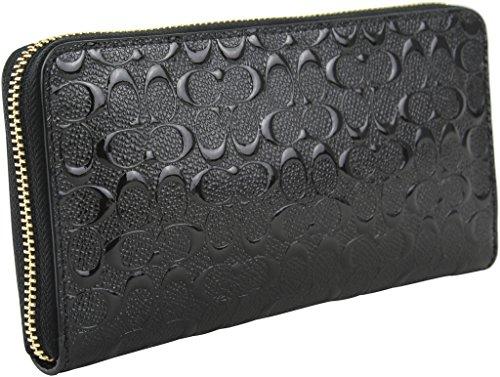 Coach Accordion Zip Wallet in Signature Debossed Patent Leather - F54805 (Black)