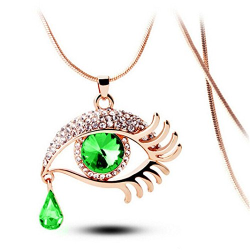 (Balakie Magic Eye Necklace Crystal Tear Drop Eyelashes Long Sweater Chain Sparkle Jewelry (Green, Free Size) )