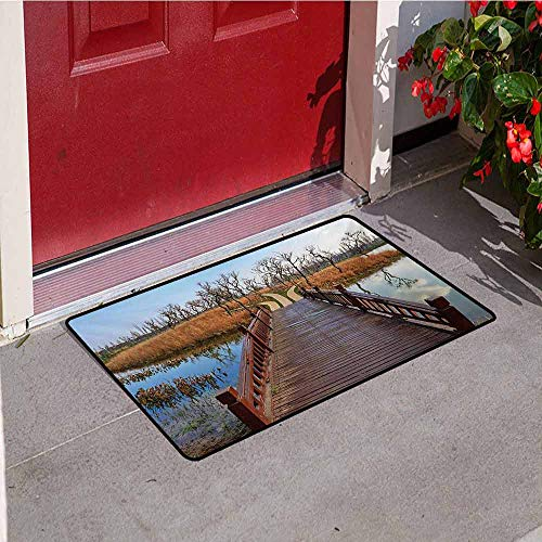 Countryside Inlet Outdoor Door mat Wetland in Kunming Deck Tourism Travel Clear Sky Hiking Fall Scene Catch dust Snow and mud W35.4 x L47.2 Inch Redwood Cinnamon Blue (Best Hiking In Texas Hill Country)