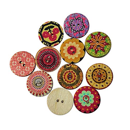 100Pcs Mixed Vintage Flower Wooden Buttons for Craft Sewing Scrapbooking DIY Clothes Decor Accessory 20mm