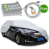PUMPKIN 3 Layers Outdoor Waterproof Car Cover, Vehicle Cover Fits Sedan Up to 199 Inches with Free Windproof Strap & Anti-theft Lock