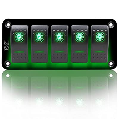 FXC Rocker Switch Aluminum Panel 5 Gang Toggle Switches Dash 5 Pin ON/OFF 2 LED Backlit for Boat Car Marine Green