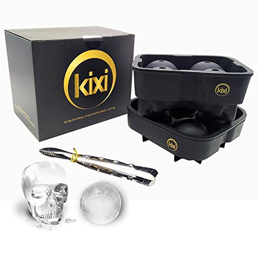 3D Skull Ice Mold Silicone Tray, Makes Four Giant Skulls, Large Flexible Round Ice Ball Spheres Molds Trays Makers with Ice Tong for Whiskey Cocktails Holiday Gifts - 2 Pack Black -