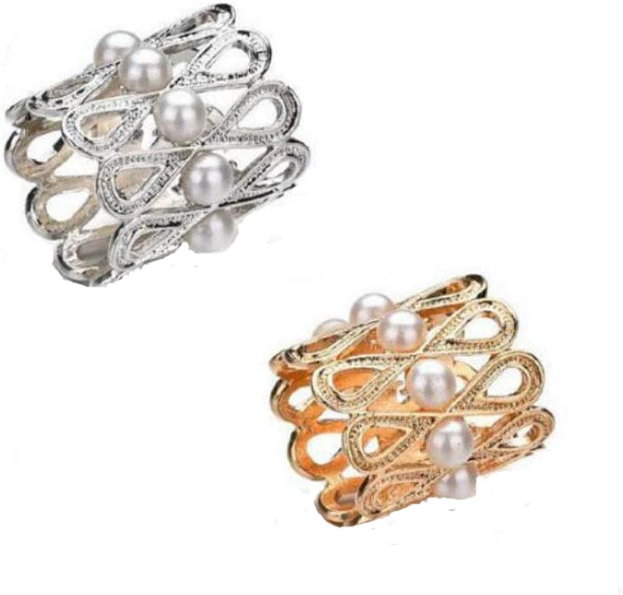 Gold+Silver 1Pcs Silk Buckle Hollow Alloy 8-Shape with Pearls Scarf Ring Elegant Shawl Round Clips Blouse Clothing Knotting Clasp Ring Wrap Holder Decorate Accessories for Women