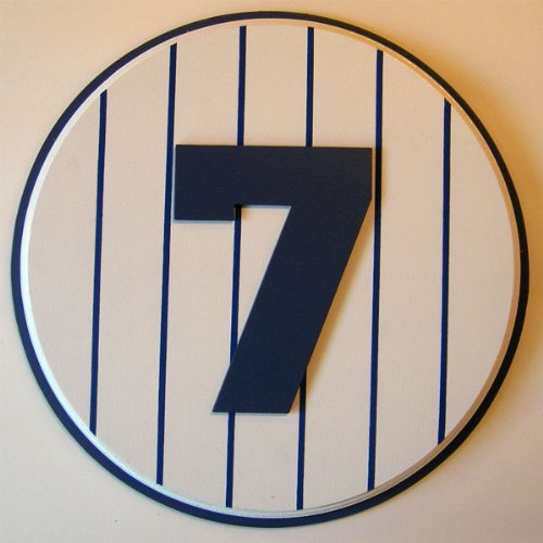 Carved Mantle - Retired Number 7 Plaque Yankees Mickey Mantle - large
