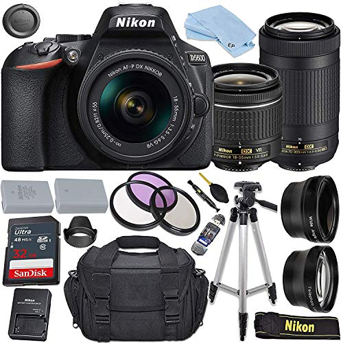 Nikon D5600 DSLR Camera with AF-P DX NIKKOR 18-55mm f/3.5-5.6G VR Lens + AF-P DX NIKKOR 70-300mm f/4.5-6.3G ED Lens + 32GB Sandisk Memory Card + Extra Battery + Accessory Bundle
