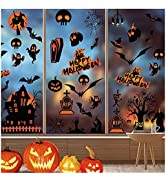 98 PCS Halloween Window Stickers Glass Decals for Party Decorations, Pumpkin Spider Bat Ghost Wit...