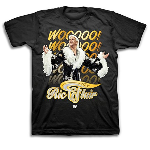 WWE Mens RIC Flair Shirt - The Nature Boy Wooooo! Superstar Tee - 16X World Wrestling Champ T-Shirt (Black, XXL)