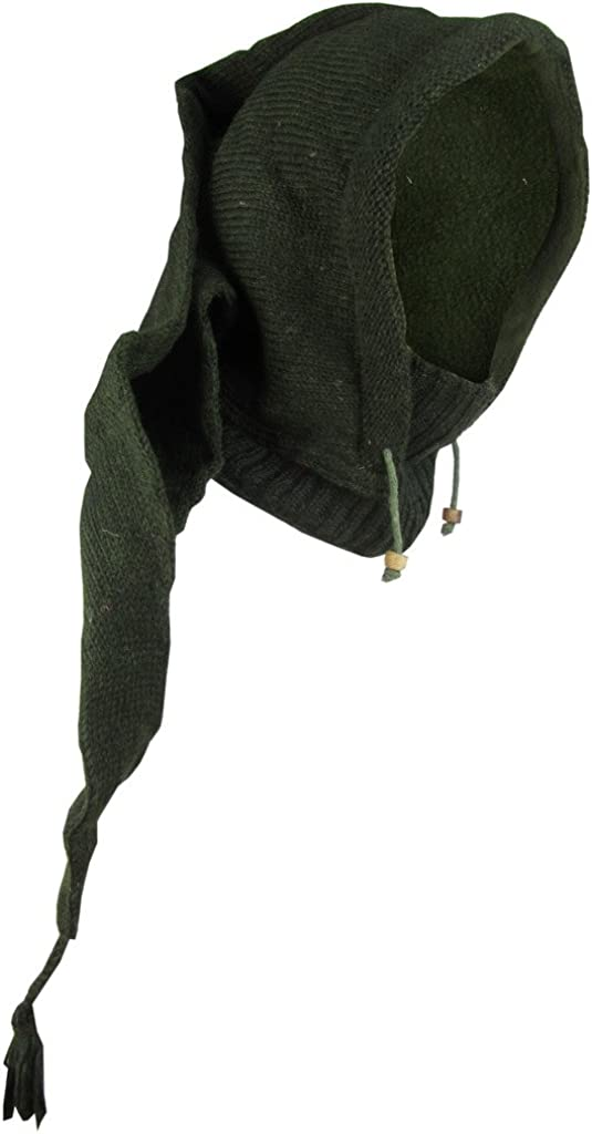 Little Kathmandu di lana foderata in pile Pixie a punta lunga Snood Hood scaldacollo cappello