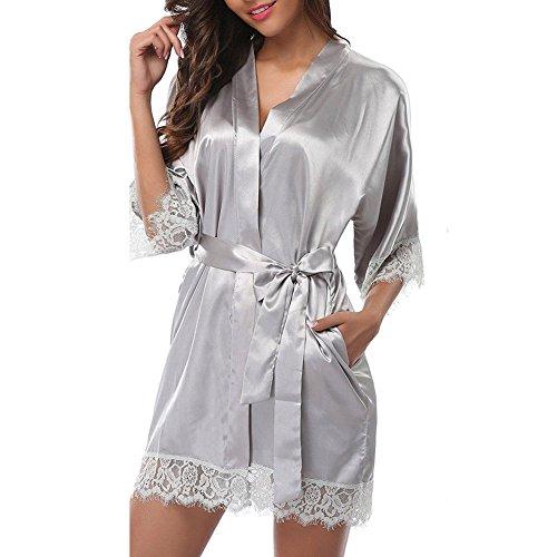 FINELOOK FINELOOK Womens Lace Silk Satin Robe Nightwear Chemise Wedding Bridesmaid Gown Sleepwear (Silver) ()